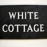 White Cottage sign.